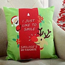 Smiling Santa Christmas Cushion: Send Christmas Gifts? to Delhi