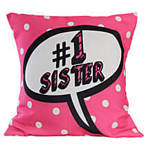 Soft Pink Sister Cushion: Bhaubeej Gifts for Sister