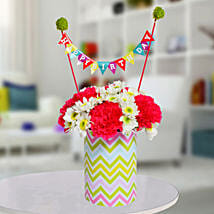 Special Birthday Vase Arrangement: Mixed Flowers
