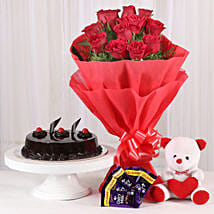 Roses with Teddy Bear, Dairy Milk & Truffle Cake: Pune anniversary gifts