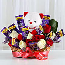 Special Surprise Arrangement: Flowers & Teddy Bears for Birthday