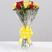 Striking Red & Yellow Rose Bouquet: Send Flowers to Bageshwar