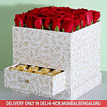 Stylish Box Of Red Roses & Chocolates: Send Gifts for Parents Day