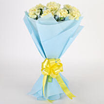 Sundripped Yellow Carnations Bouquet: Bhai Dooj Gifts for Sister