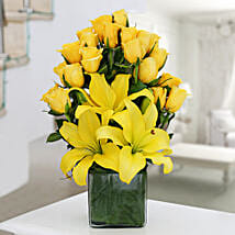 Yellow Roses & Asiatic Lilies Vase Arrangement: Birthday Gifts for Boss