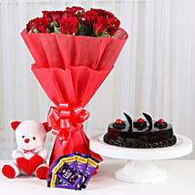Red Roses Romantic Combo: Flowers & Teddy Bears