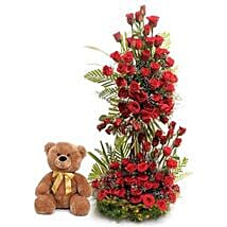 Sweet Surprise: Flowers & Teddy Bears for Anniversary