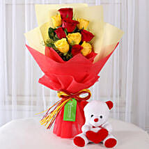 Teddy Bear with Red & Yellow Roses: Valentine Flowers & Teddy Bears
