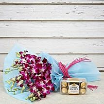 Tempting Rocher Combo: Friendship Day - Flowers & Chocolates