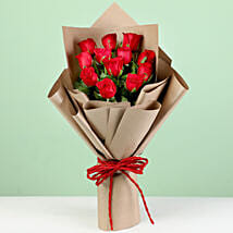 Timeless 12 Red Roses in Brown Paper: Flowers for Anniversary