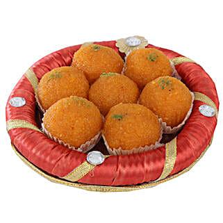 Tray Full Of Kesariya Motichoor Ladoo: Birthday Sweets