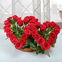 Two Red Hearts As One Basket Arrangement: