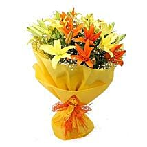 Vibrant Lilies Bouquet: Send Anniversary Flowers for Husband
