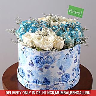 White & Blue Rose Box: