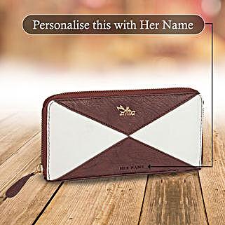 White & Brown Zipper Wallet: