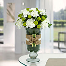 White Carnations Arrangement: Send Flowers for Rakhi