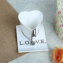 White Ceramic Heart Shaped Cup: Anniversary Gifts to Pune