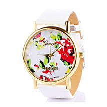 White Floral Watch For Women: Women's Watches