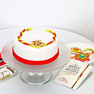White Fondant Cake For Rakhi: Send Rakhi with Cakes