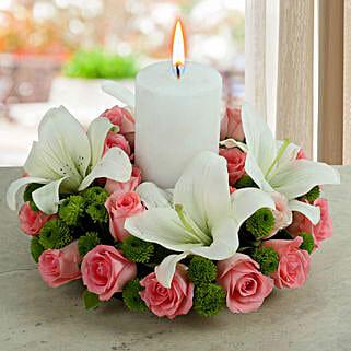 White Lily Arrangement: Diwali Candles