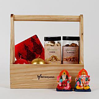 Wooden Basket of Diwali Gifts: Send Diwali Gifts to Delhi