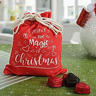 Xmas Potli N Heart Shaped Chocolates: Christmas Giftsto Bengaluru