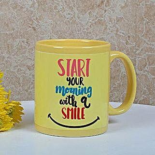Yellow Ceramic Smiley Mug: Buy Coffee Mugs