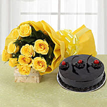 Yellow Roses and Cake: Send Gifts to Chandrapur