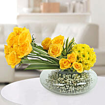 Yellow Roses N Daisies Arrangement: Karva Gifts for Mother in Law