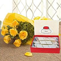 Yellow Roses N Kaju Katli: Thank You Flowers & Sweets