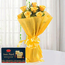 Yellow Roses N Sweets: Flowers & Sweets for Diwali