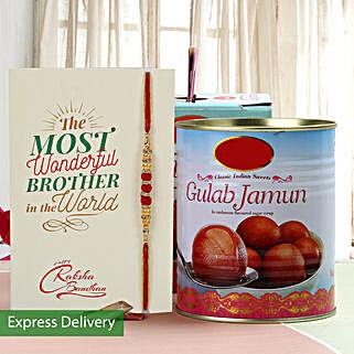 Yummy Gulab Jamun And Rakhi Combo: Rakhi with Sweets