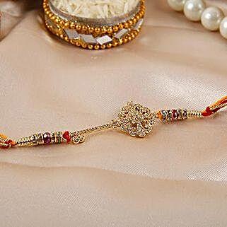 Key Shaped American Diamond Rakhi: Send Rakhi to Macau