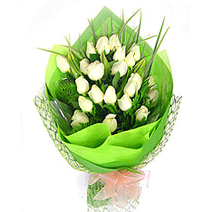 Exotic White Roses Bouquet