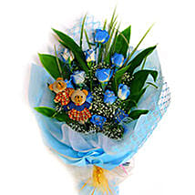 Blue Charming Bouquet: Roses to Malaysia
