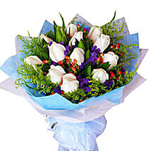 Flawless White Bouquet: Flowers in Johor Bahru