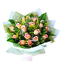 Peach Roses Bouquet: Flowers to Kuala Lumpur