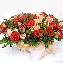 Vibrant Basket Of Roses: Anniversary Gifts to Malaysia