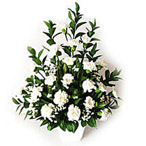 White Carnations In A Vase: Condolence Flowers Delivery in Malaysia
