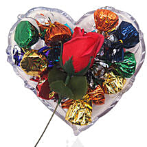 Fresh Rose And Chocolate On Heart Tray: Gifts to Nepal