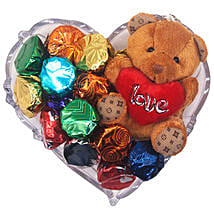 Gourmet Chocolate And Love Teddy Gift Tray: Valentine's Day Gifts to Nepal