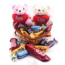 Miniature Chocolates with Couple Teddy in Heart Basket: Send Gifts to Nepal