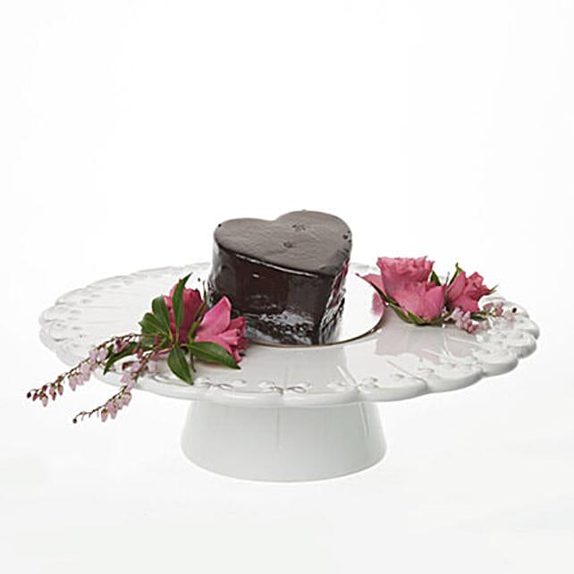 Glossy Heart Choco Cake
