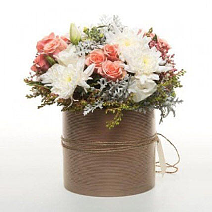 Peach Flowers In Copper Pot