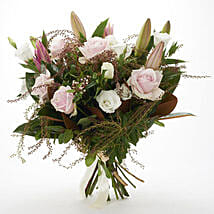 Fresh Roses N Lilies Bouquet: Mother's Day Gifts to New Zealand