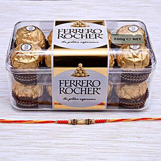 Traditional Rakhi With Ferrero Rocher Chocolate: Send Rakhi to New Zealand