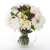 White N Green Posy: Sympathy Flower Delivery New Zealand