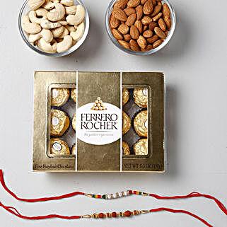 Crunchy And Yummy Rakhi Combo: Send Rakhi with Chocolates to Oman