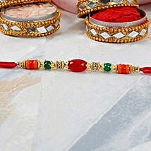 Red Oval Bead Dori Rakhi: Rakhi Delivery in Philippines
