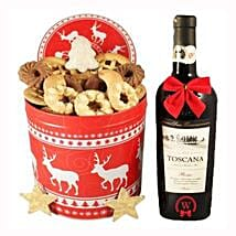 Christmas Tin Box With Red Tuscan: Send Gifts to Portugal